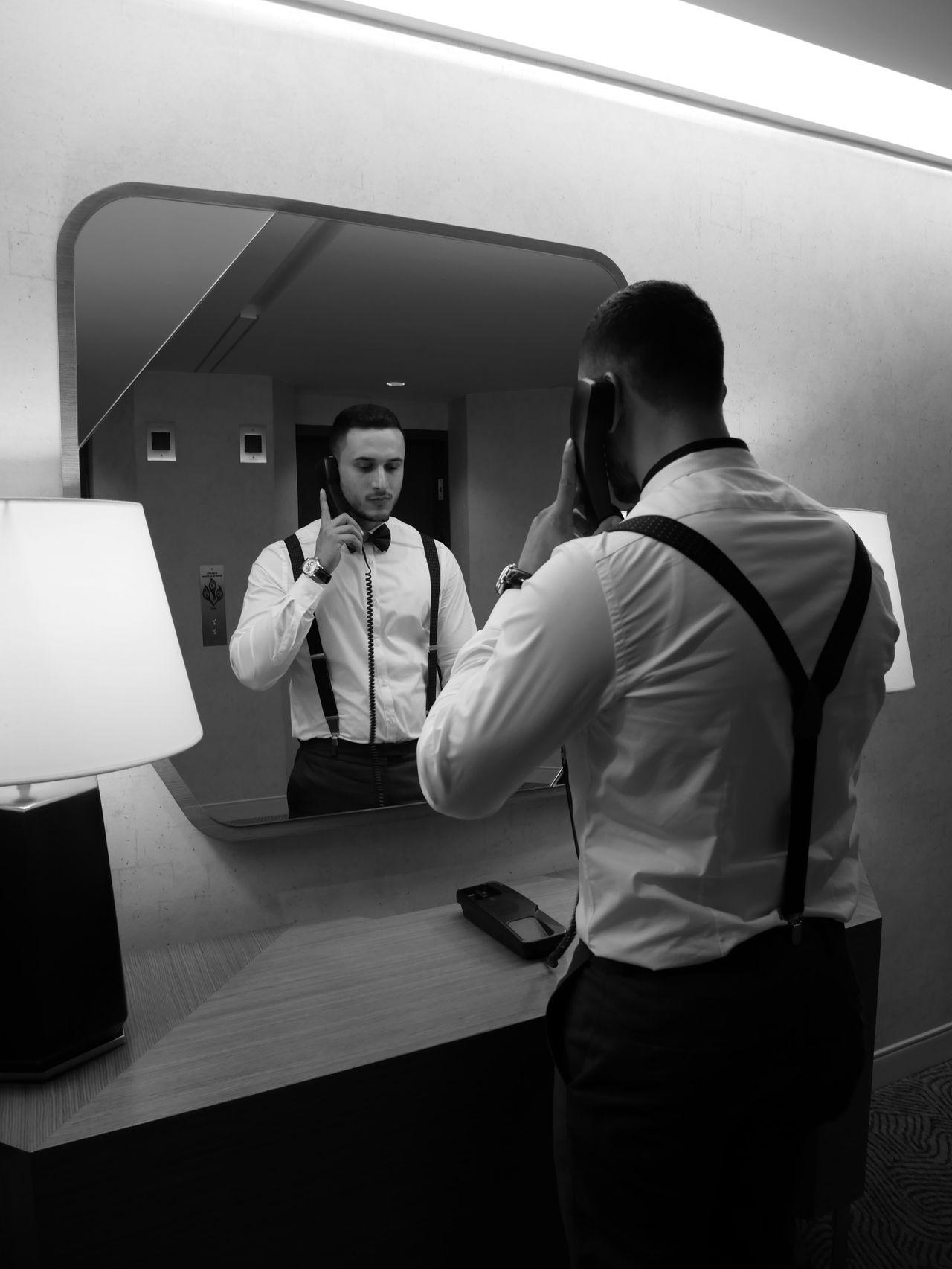 Adult Blackandwhite Business Businessman Indoors  Mafia  Mirror Retro Suit