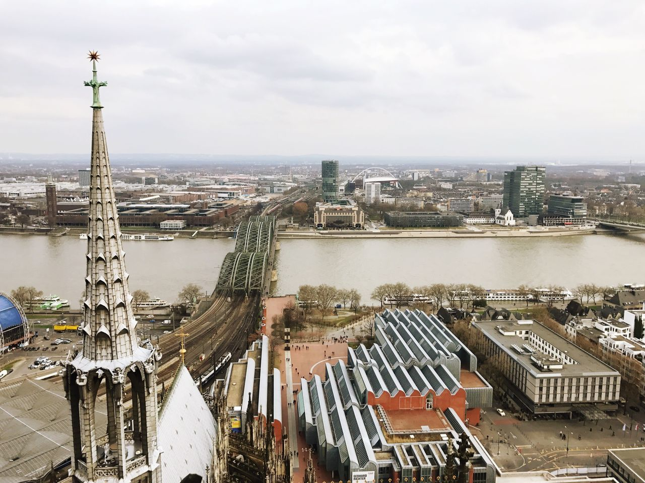 Cologne Köln Architecture Built Structure Building Exterior City Cityscape High Angle View Sky Residential Building Outdoors Day Travel Destinations Water Tower Tourism River No People Sculpture Statue Tree Scenic Lookout