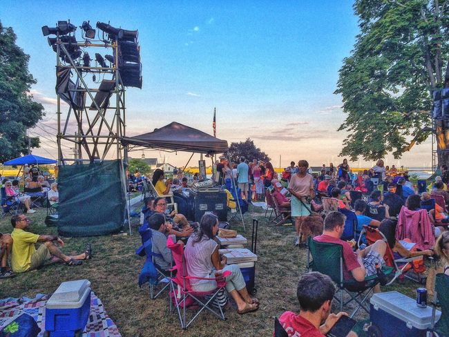 People watching at the American Shakespeare Theatre... Eastern Seaboard Stratford Stratford Upon Housatonic Theatre Theater Shakespeare Taming Of The Shrew Outside Outdoors Sunset Performance Theatrical Summer Summertime August New England  USA American Shakespeare Theatre Water Long Island Sound