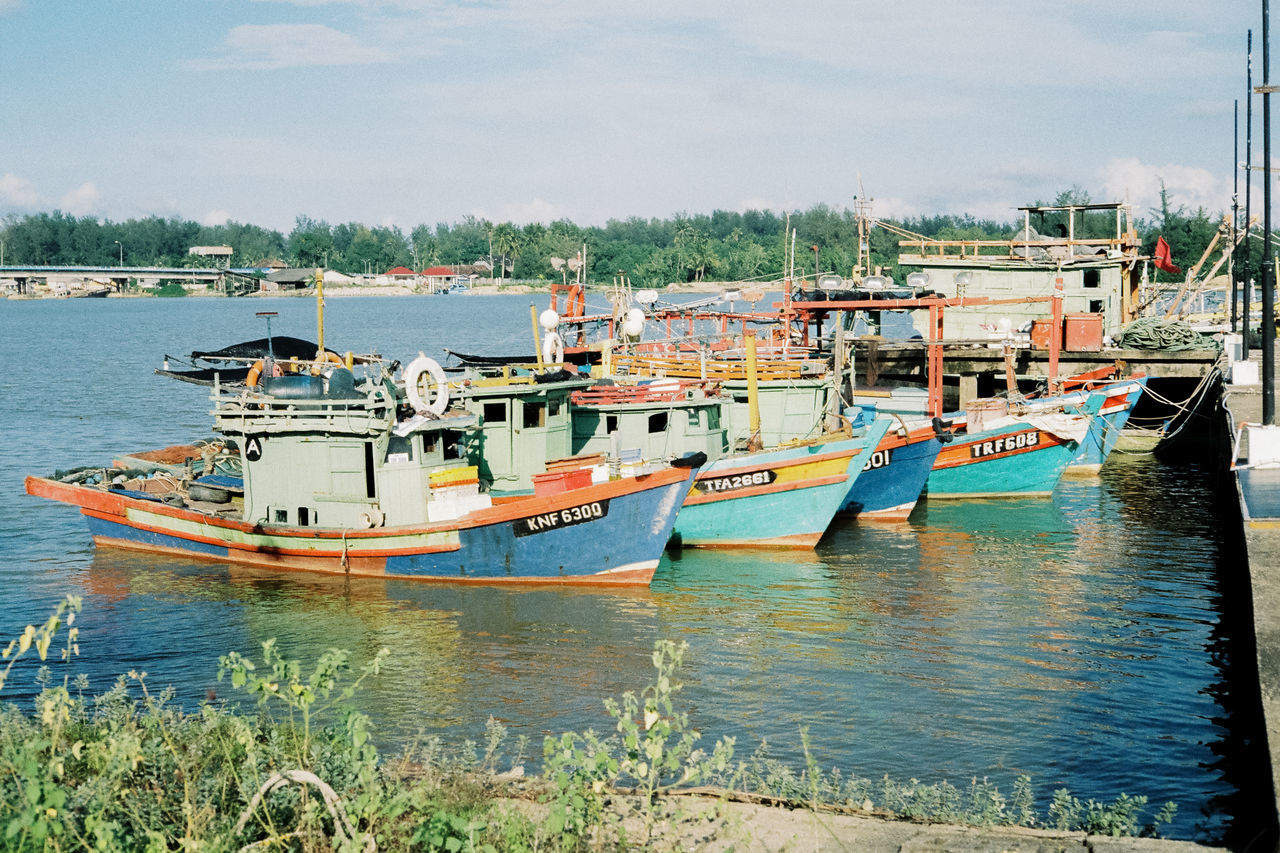 Beauty In Nature Blue Boat Cloud Cloud - Sky Day Fishing Boats Fishing Port Fishing Village Mode Of Transport Nature Nautical Vessel No People Off Season Outdoors Rippled Scenics Sky Tranquil Scene Tranquility Water
