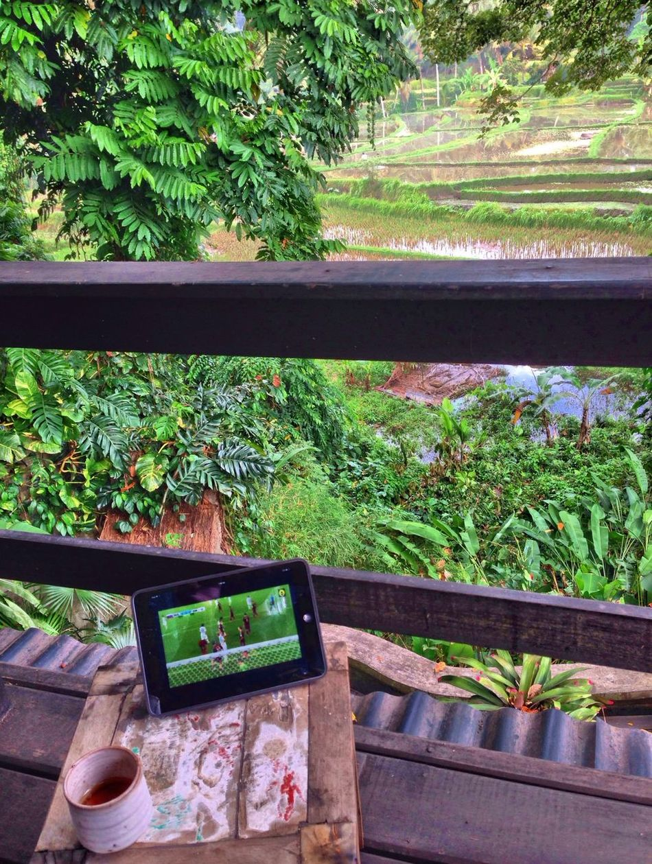Morning coffee and Brazil 2014 World Cup streaming | We Are Onefootball Bali , INDONESIA