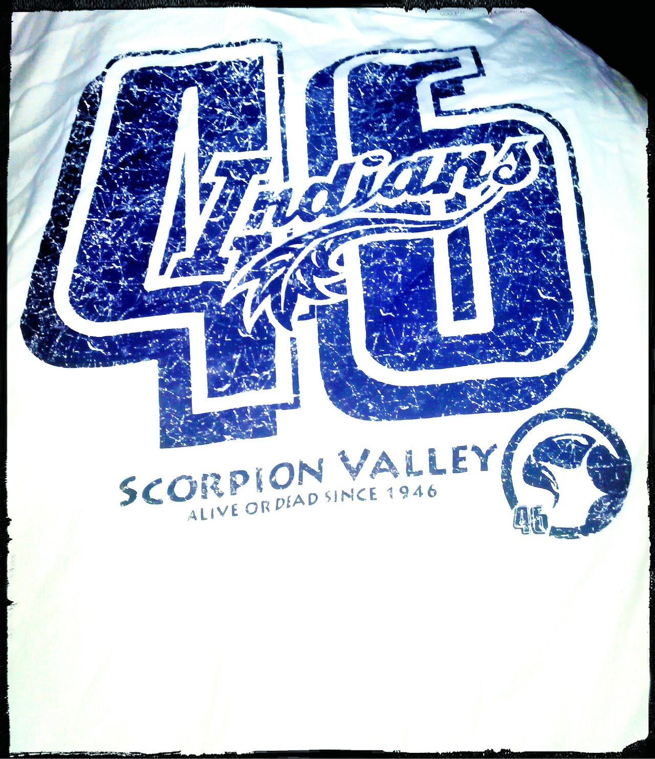T Shirt Tshirt Alphabetical & Numerical Sport Indians Game Scorpion Valley Indians  Clothes 46 Clothing Tshirts T Shirts Tee Shirt Teeshirts Teeshirt T Shirt Collection White And Blue Tshirtcollection Tshirtporn Tshirt♡ Est.1946 Number 46 AlphaNumeric Blue And White Forty Six