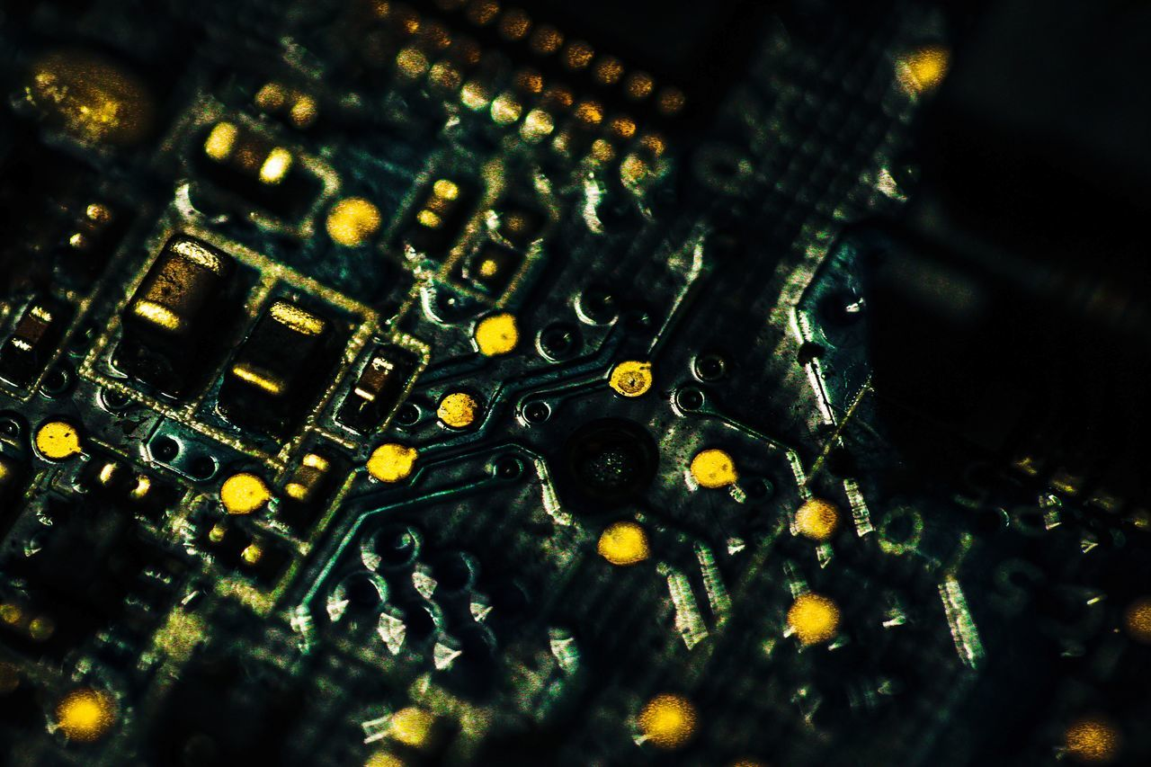 Gold Colored Shiny Backgrounds Close Up Techonology Computer Part