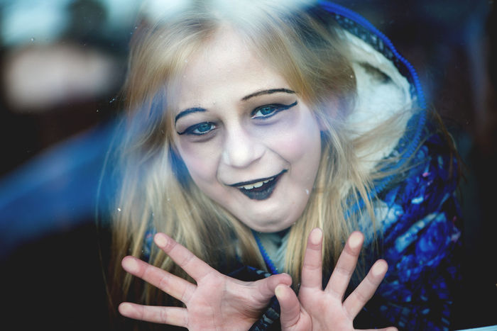 Halloween girl behind the window Children Halloween Halloween EyeEm Horror Makeup Portraits Adult Beauty Behind Window Blond Hair Blue Cheerful Close-up Day Halloween Makeup Happiness Long Hair Looking At Camera One Person Outdoors People Portrait Real People Smiling Young Adult
