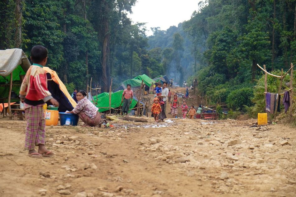 Children play at a road work camp. Many migrate to remote areas for seasonal work in Myanmar. Myanmar Migrant Workers ASIA