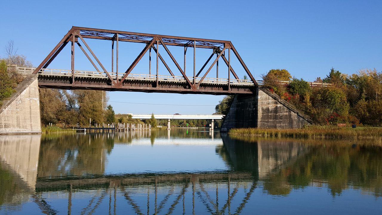 Snowmobile Bridge over Cheboygan River. Bridge Bridge - Man Made Structure Bridgeporn Built Structure Engineering Reflection Reflection River Structure Symetry Water Water Reflections Water_collection Waterporn