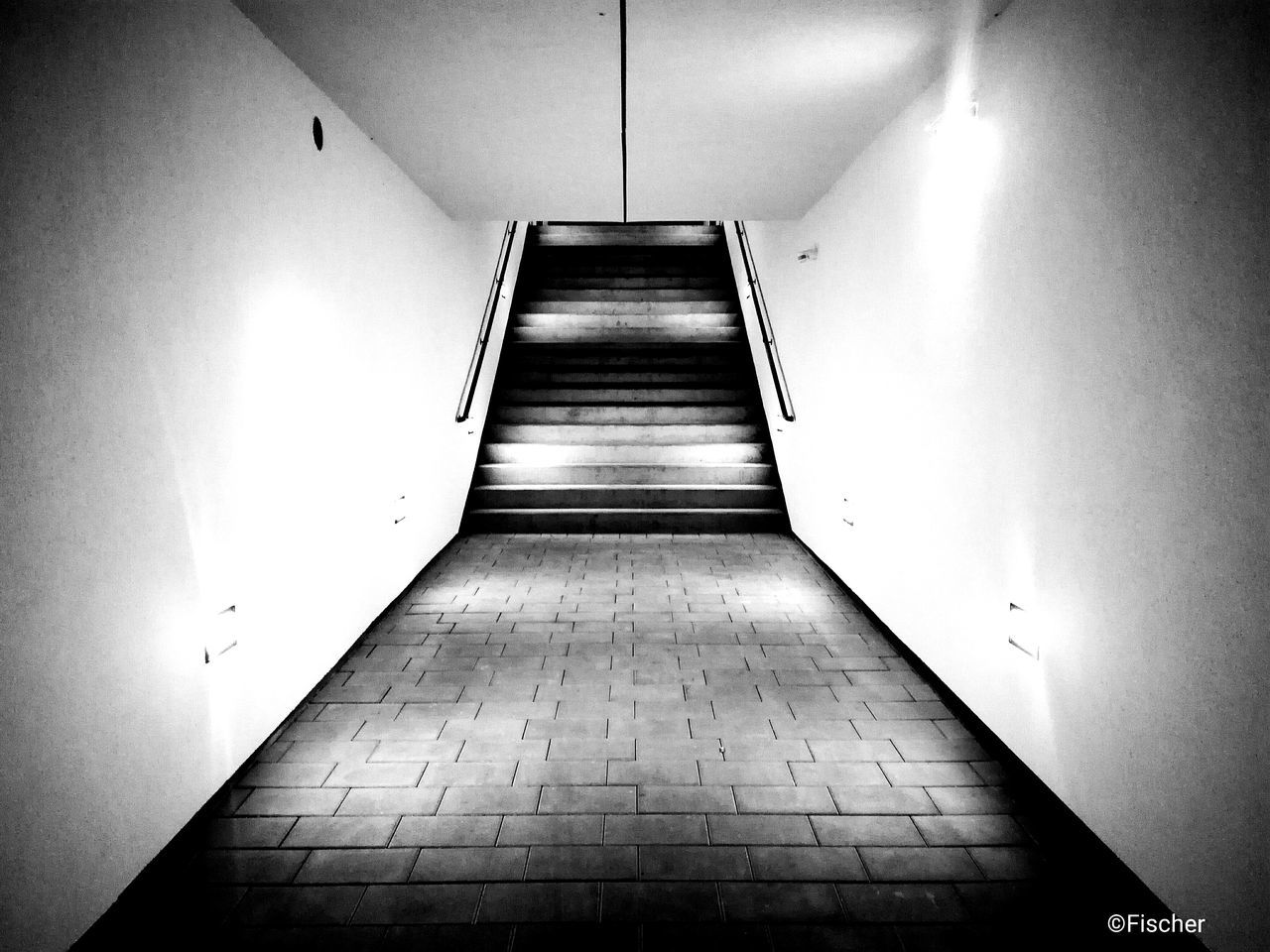 indoors, the way forward, illuminated, empty, steps and staircases, architecture, no people, built structure, day