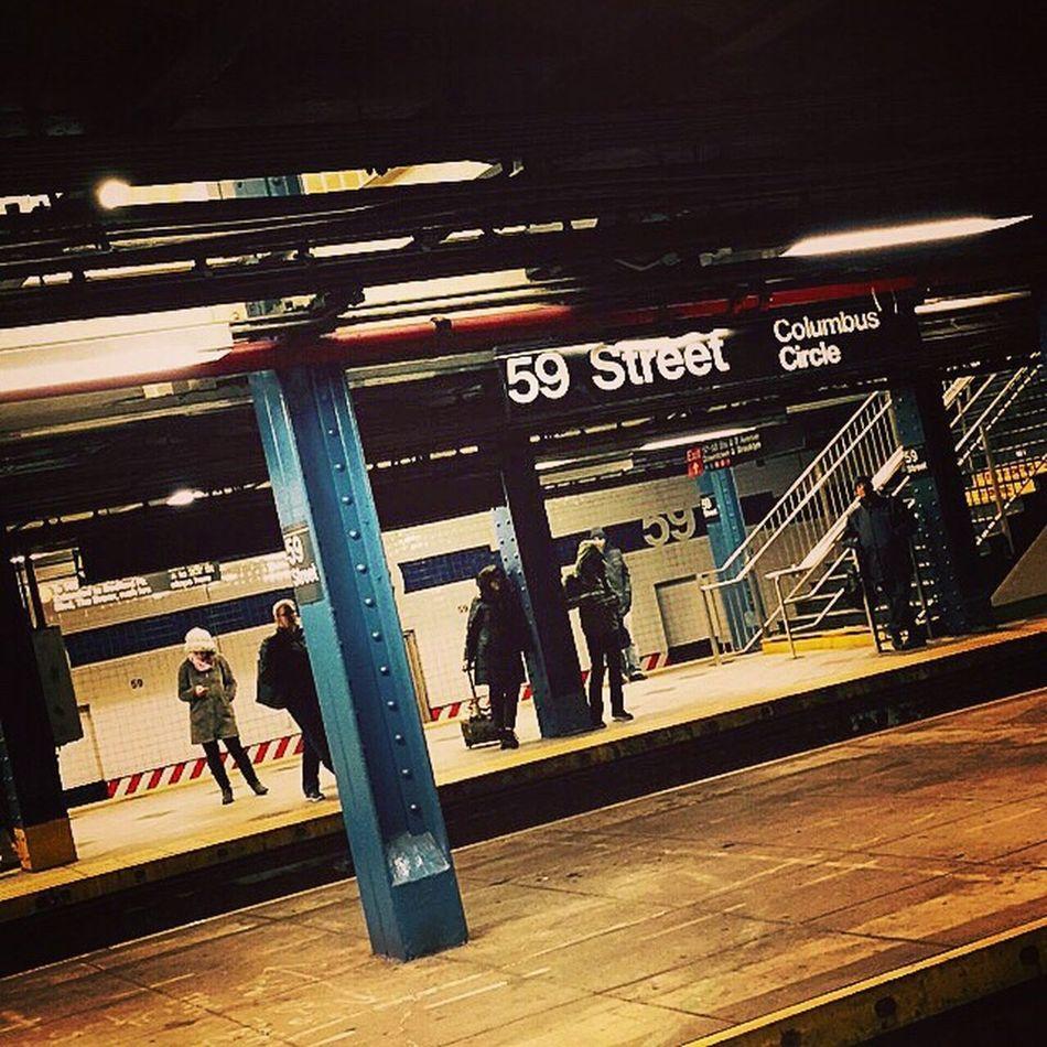 New York Subway Columbus 59street Station Blue People Winter