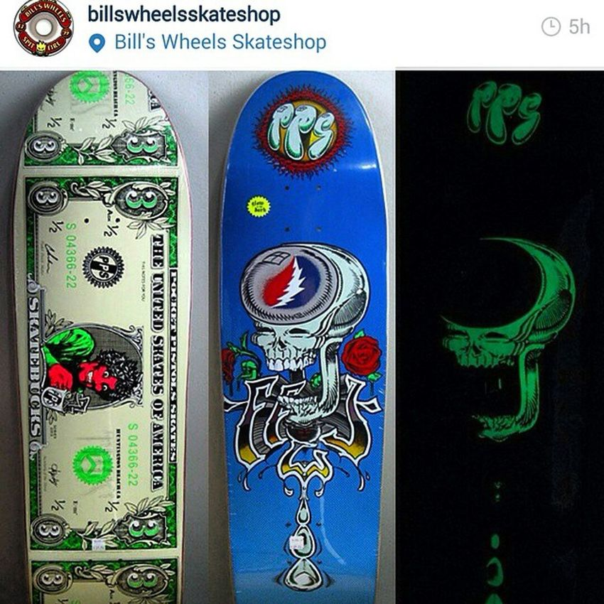 @billswheelsskateshop has the new @spidey75 and my Glowinthedark Gratefulffej @pocketpistols guest model with graphics by @mattfrenchart in stock - for now. The first run went fast... Thankyouskateboarding