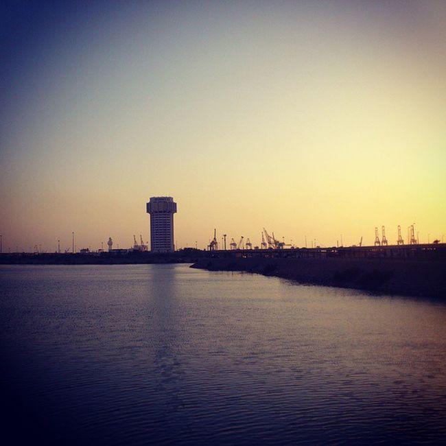 At Albalad Al_balad . Historic Old town. cranes of the islamic sea port on the other side. jeddah saudi_arabia saudiarabia. Taken by my sonyxperia sony xperia arc. البلد ميناء جدة الاسلامي السعودية