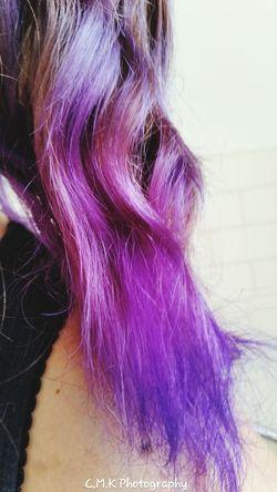 Human Hair Indoors  Close-up Only Women Day Be. Ready. People Real People Reflection Purplehair Purple Color Purple Haze Purpletones multitonalpurplehighlights Mobilephotography