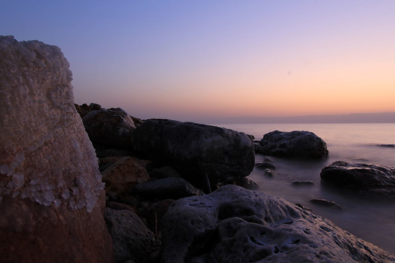 Sunset Landscape Rock - Object Nature Beauty In Nature Sky Scenics No People Blue Beach Tranquility Water Outdoors Winter Travel Destinations Horizon Over Water Beauty Day Astronomy Dead Sea  Jordan Deadsea Dead Sea  Wave Dawn