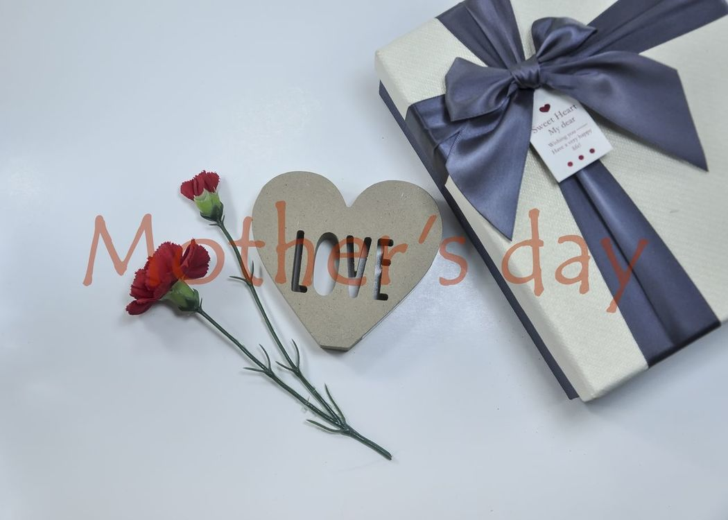 Celebration Communication Day Flower Gifts ❤ Greeting Card  Heart Shape Indoors  Love Moth Mother Mother's Day Ribbon - Sewing Item Still Life Studio Shot Text White Background