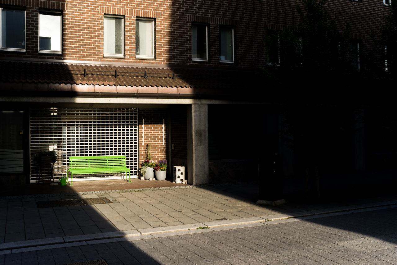 Green bench Architecture Building Exterior Built Structure Color Contrast Day Door Green Bench Green Color No People Outdoors Shadow Window