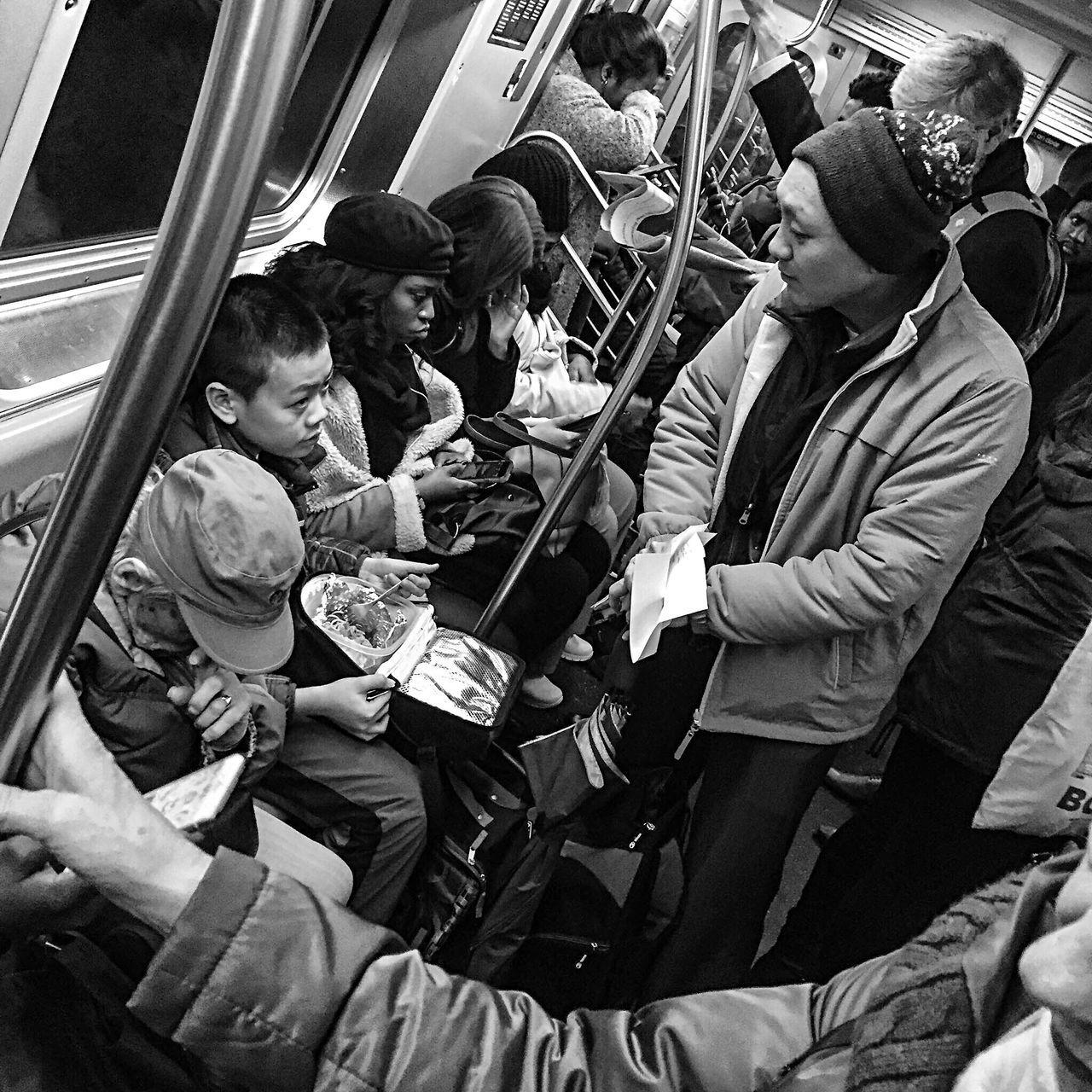 Parenthood Children Childhood Subway Train Train - Vehicle Transportation Vehicle Interior Passenger Public Transportation Commuter People Adult Crowd Adults Only Mta Streetphotography New York City Blackandwhite BestofEyeEm Blackandwhitephotography
