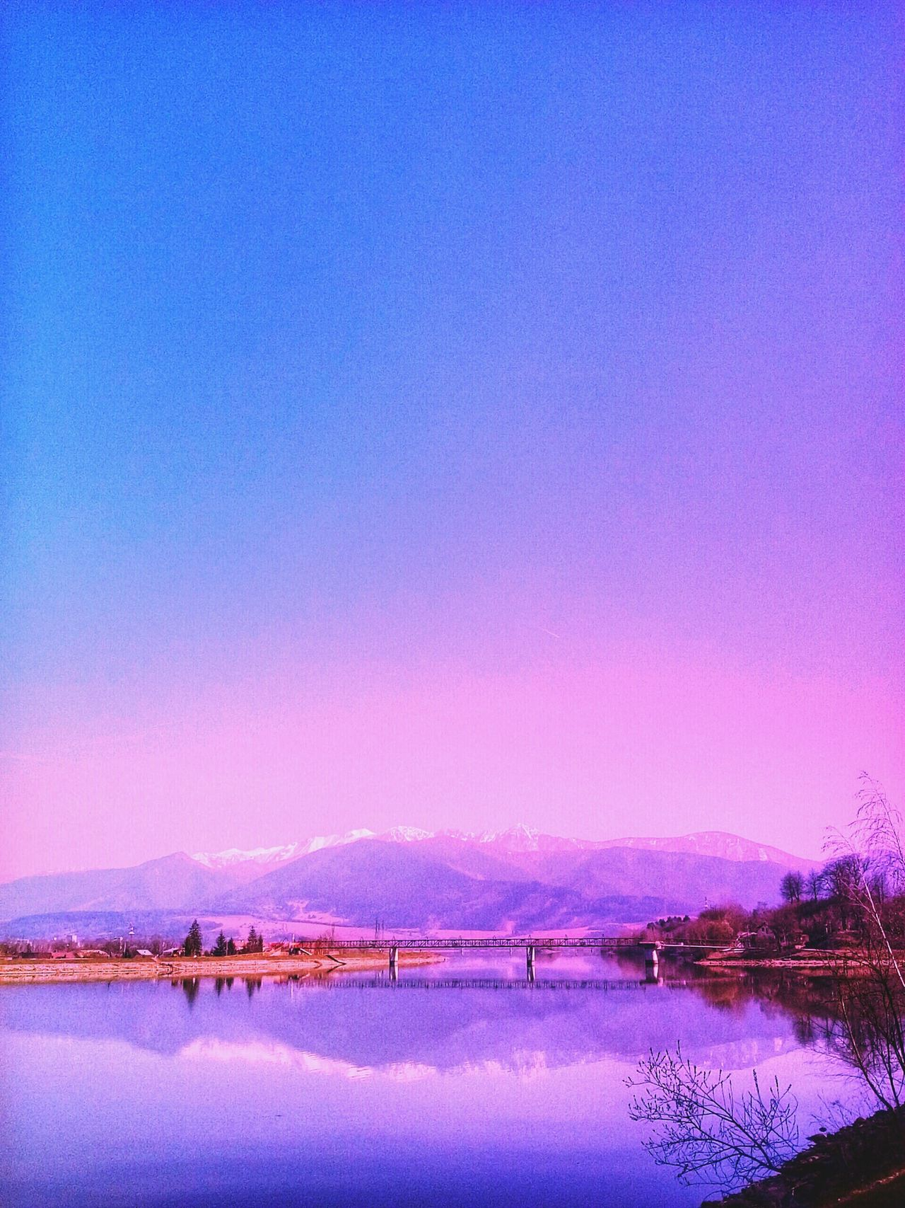 Learn & Shoot: Balancing Elements Water Reflections Mountains Bridge Color Edit Purple Shades Snow On Mountains Spring Landscape Landscape Reflecting In Mirror Mala Fatra Slovakia Landscapes With WhiteWall