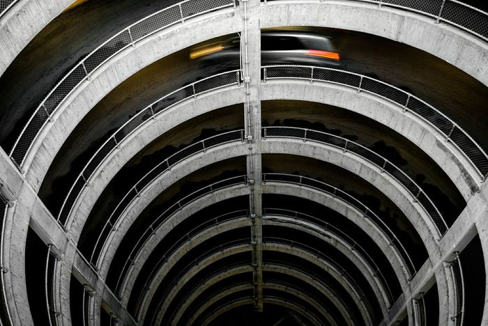 Architecture Built Structure Close-up Day Downward Motion Motion Blur No People Outdoors Park Parking Lot Speeding Spiral Upward
