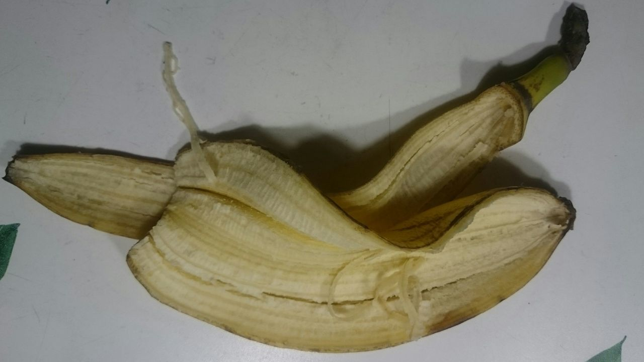 banana, close-up, no people, fruit, banana peel, white background, healthy eating, food, day, outdoors