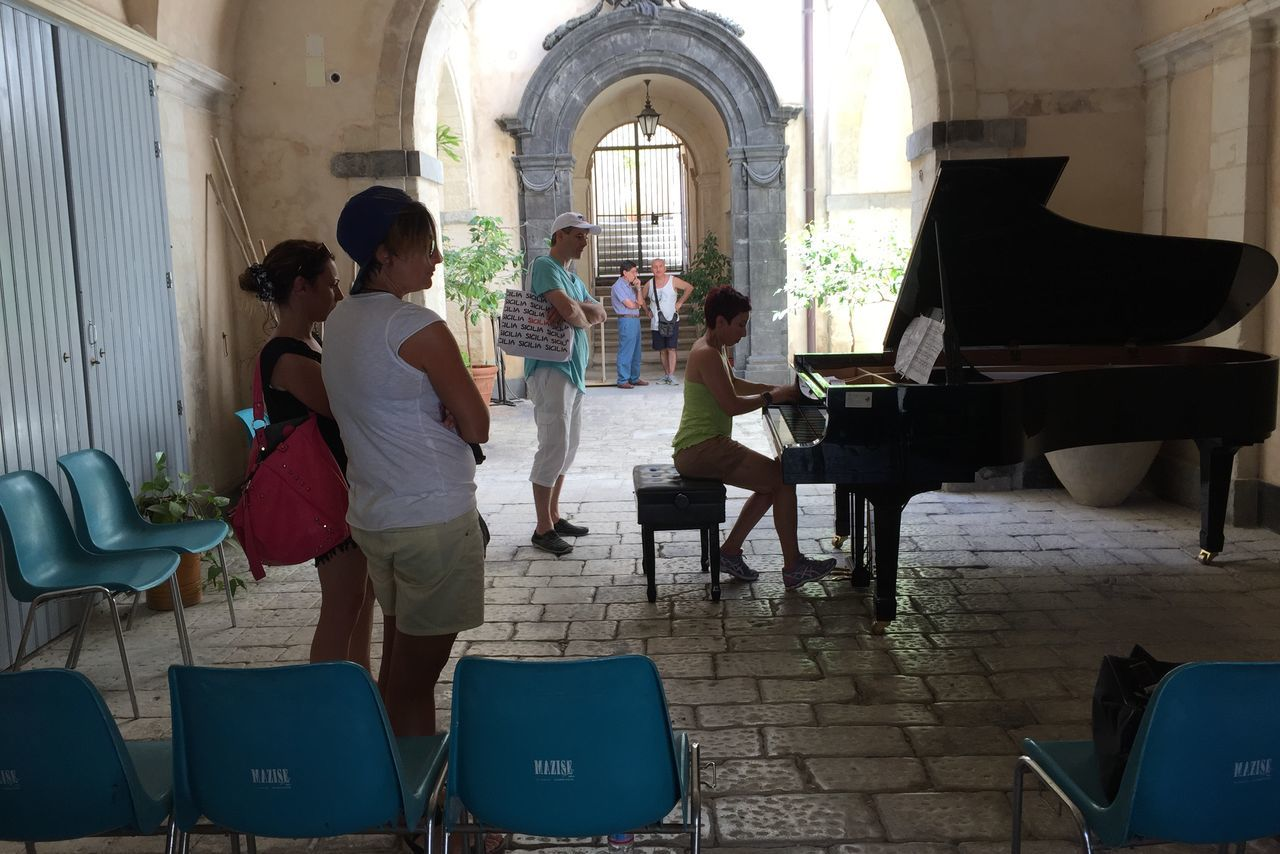 Architecture Built Structure Chair Day Friendship Full Length Indoors  Lifestyles Men Music Musical Instrument Musician People Piano Real People Sitting Skill  Standing Togetherness Women