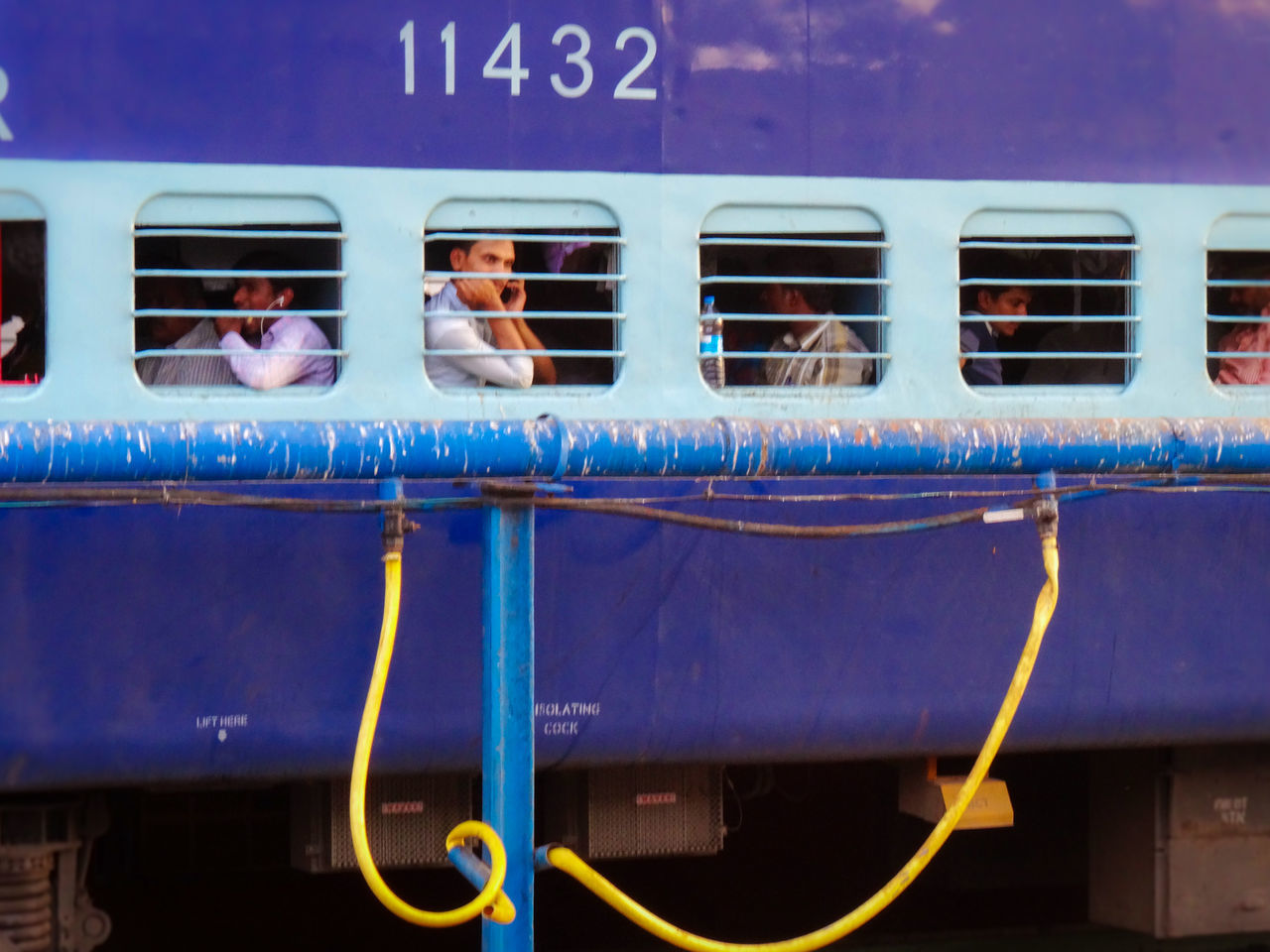 mode of transport, transportation, train - vehicle, public transportation, land vehicle, communication, blue, day, men, outdoors