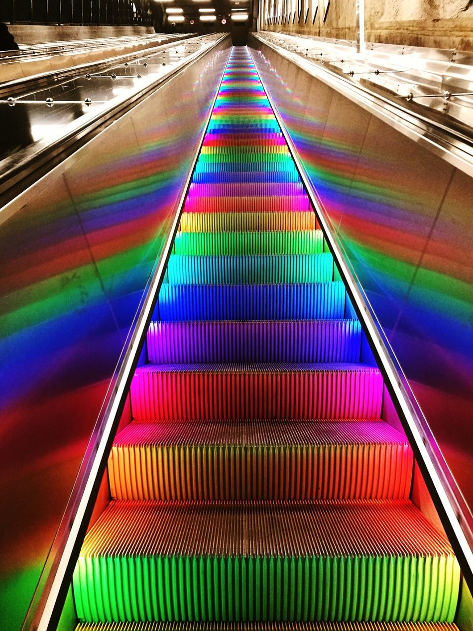 Art Multi Colored Neon Pattern Vibrant Color Day Stockholm Tbana Metro Celebration No People Indoors  Parallel Rainbow Stears Sweden Traveling Travel Photography Travel Destinations Stairway To Heaven