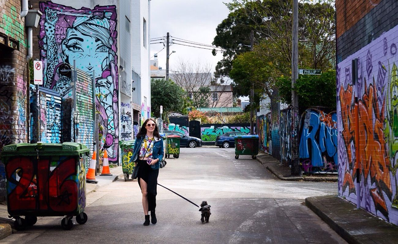 A girl and her dog Streetphotography Street Photography Streetart Street Art Street City Urban Graffiti Girl Woman Woman Portrait Dog Woman And Dog Bonding City Walk Pets Sunday Vibes Summer Newtown Australia Sydney, Australia