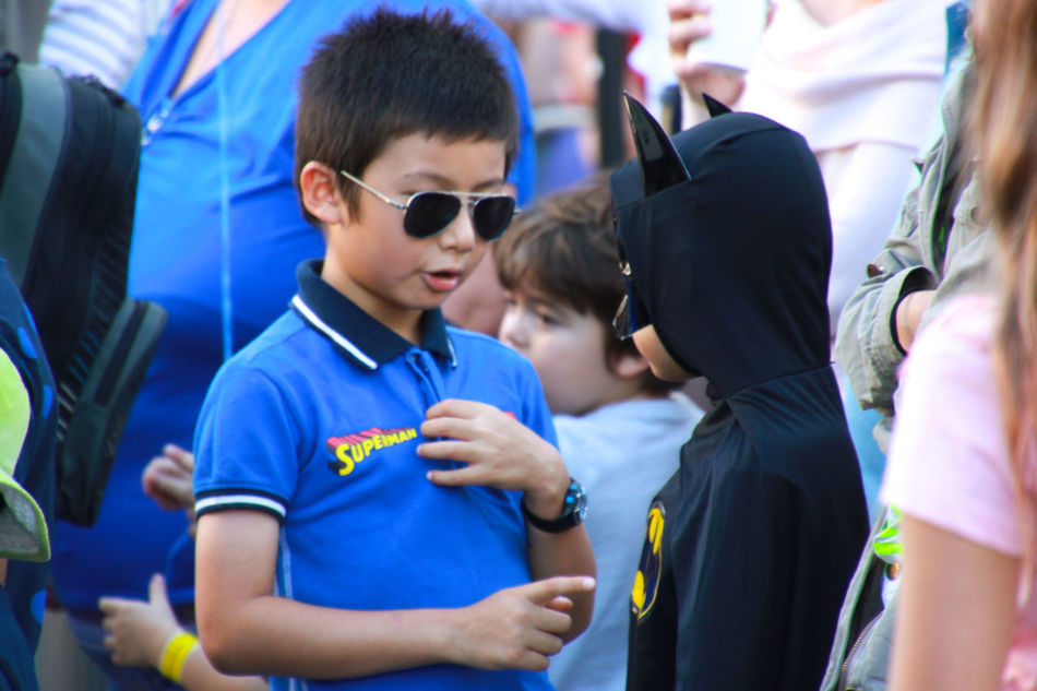 Batman Boys Childhood Close-up Conversation Day Family Friendship Outdoors People Real People Street Street Photography Sunglasses Superhero Superheroes Superman Togetherness
