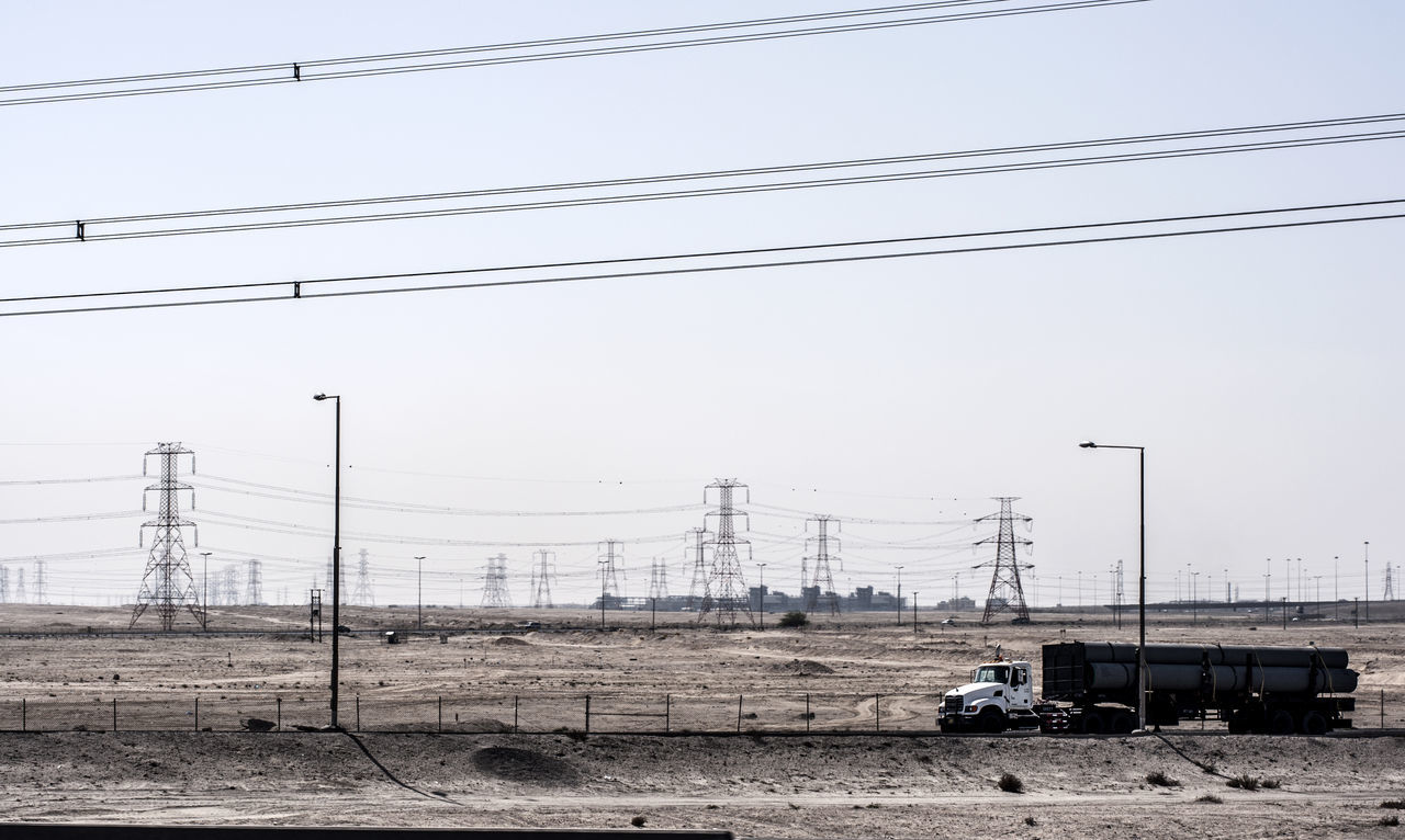 Cable Desert Desert Landscape Desert Life Deserts Around The World Electricity  Electricity Pylon Fuel And Power Generation Kuwait Lorry Power Line  Transportation