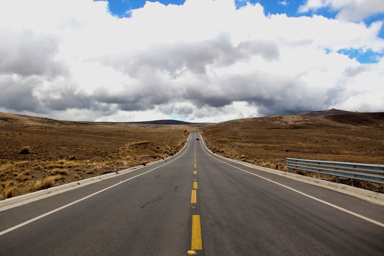 Andes Ecuador Landscape  Asphalt Beauty In Nature Cloud - Sky Day Landscape Mountain Nature No People Outdoors Road Road Marking Scenics Sky The Way Forward Tranquil Scene Transportation