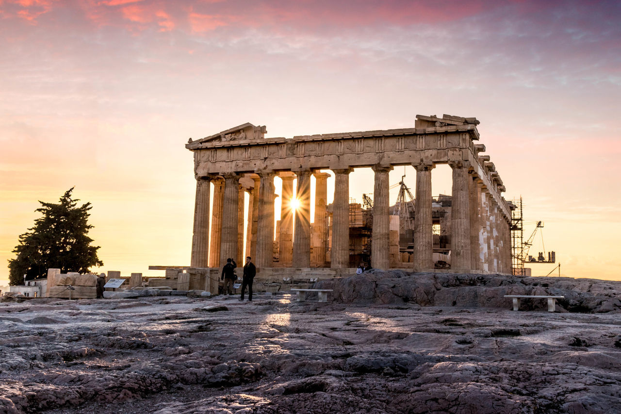Ancient Architectural Column Architecture Athens Athens, Greece City Greece History Old Ruin Parthenon Parthenon Acropolis Greece Purple Sky Sunset Sunset_collection Travel Destinations