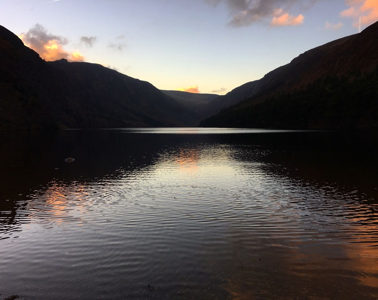 Travel Destinations Ireland Reflection Sunset Mountain Water Lake Traveling Travel Photography Glendalough Wicklow Wicklow Mountains