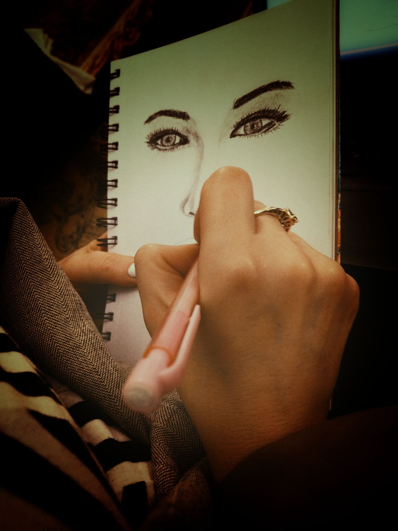 Human Body Part Human Hand One Person Indoors  Real People Close-up Drawing Woman Portrait Drawing ✏ Drawing - Activity