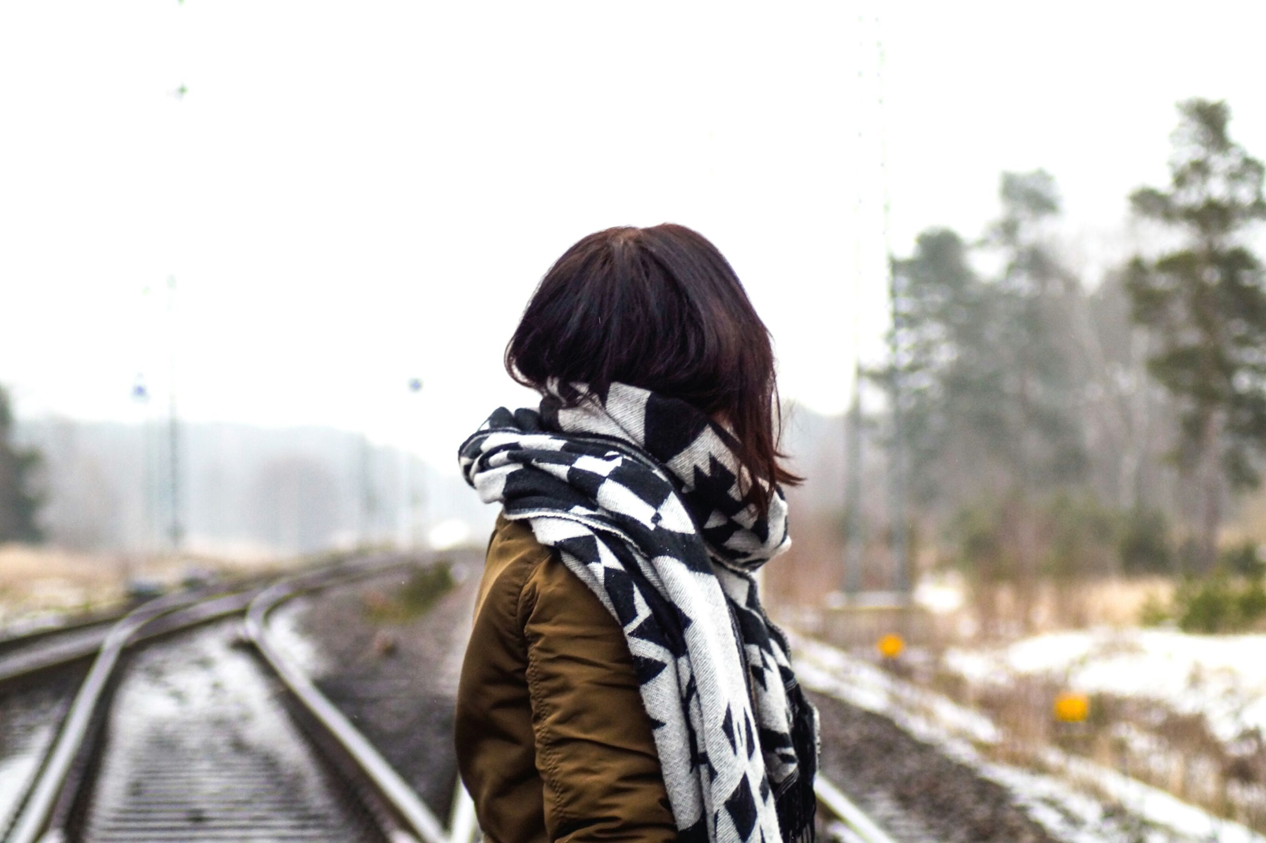 real people, one person, railroad track, rear view, sky, outdoors, day, women, adult