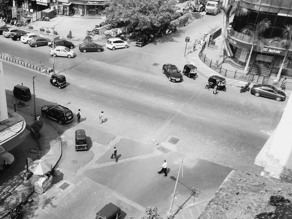 High Angle View Car Aerial View Outdoors Land Vehicle City Day People Road Street Mumbai City Cars Traffic Sub Urban Rickshaw Building Exterior Shadows City Light Politics And Government Built Structure Travel Destinations Large Group Of People Welcome To Black