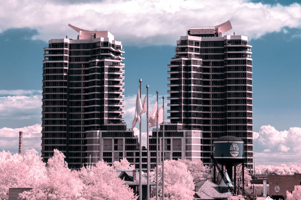 Toronto Lakeshore Condos and Steam Whistle [IR+UV] Fine Art Photography Relaxing Outdoors Walking Around Skyporn Sky And Clouds Eye4photography  Taking Photos Exceptional Photographs Enjoying Life EyeEm Best Shots Hanging Out Getting Inspired From My Point Of View Check This Out Canada Coast To Coast Architecture No People City Pink Trees Built Structure