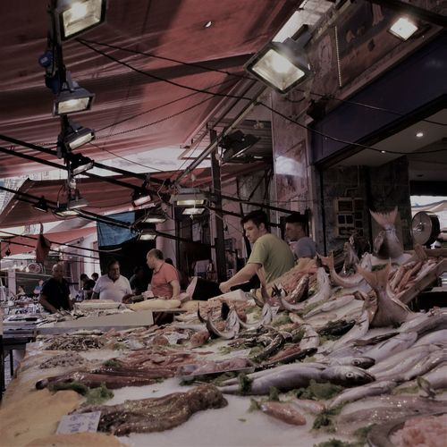 Italy Food For Sale Freshness Open Air Market People Selling Fish Color Explosion