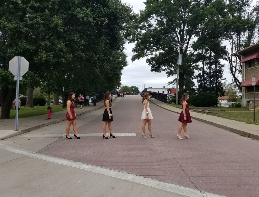 Road Tree Outdoors Day People Full Length Togetherness Only Women Sky Long Hair Standing Teenagers  Dresses Black Red White Homecoming 2016 Glamour Fancy Dress Fancy Friendship No Filters Or Effects Cross Walk Beatles Inspiration BeatlesFans Abbey Road