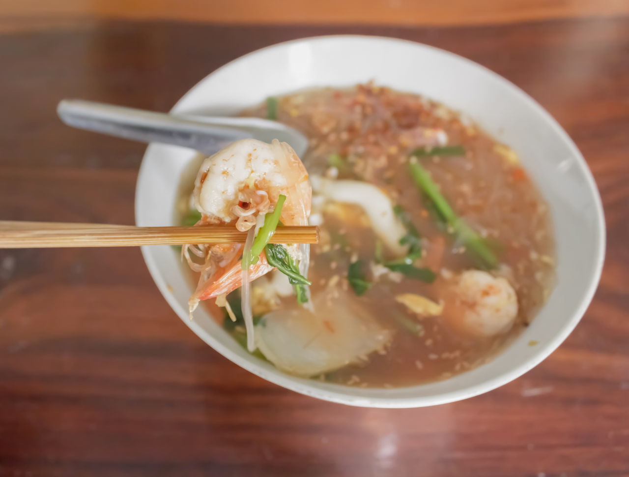 food and drink, bowl, food, table, freshness, healthy eating, soup, noodles, ready-to-eat, indoors, chopsticks, high angle view, no people, serving size, close-up, day