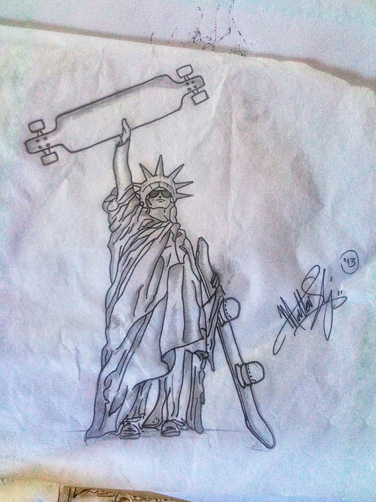 Sketch Drawing - Art Product Pencil Drawing No People Drawing - Activity Paper Painted Image Indoors  Close-up Sketch Pad Day Liberty Statue Longboard Longboarding Skateboarding Snowboard EyeEmNewHere