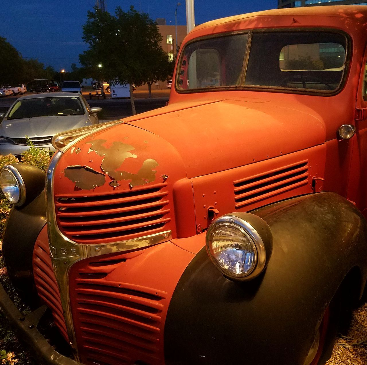 transportation, land vehicle, mode of transport, headlight, no people, outdoors, old-fashioned, day, stationary, red, close-up