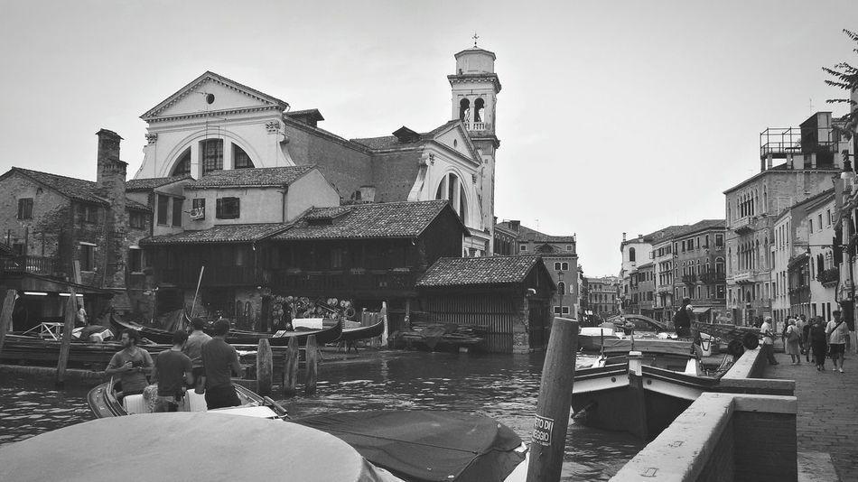 Busy Venice canal and alley, in front of San Trovaso squero (gondola carpentry) Venice, Italy B&w Photo Venezia Nascosta Gondola - Traditional Boat Carpentry