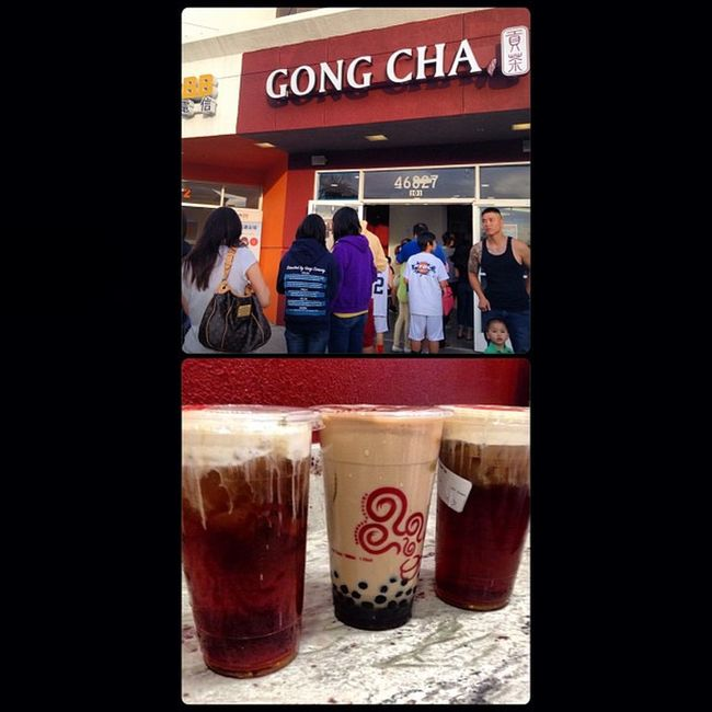 The line was totally worth it! Gongcha Only1intheUS Fremont Norcal bobamilktea mfblacktea thebest cousin weekend asian