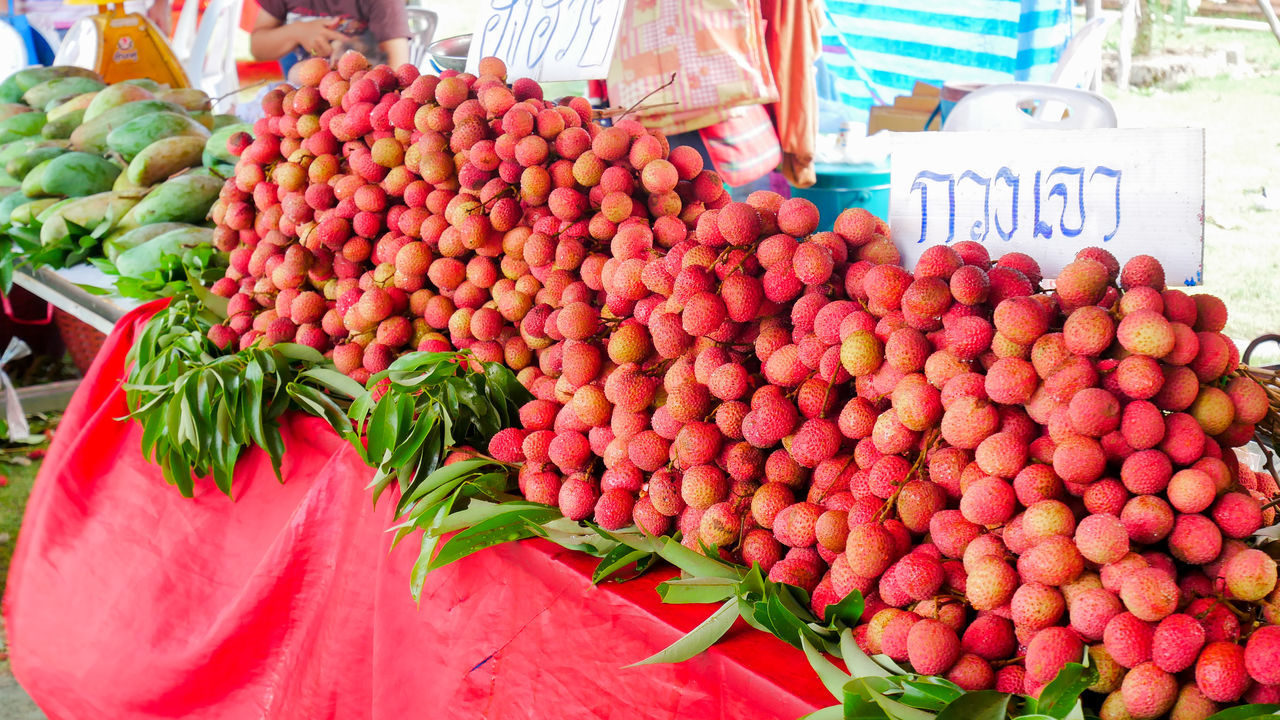 Abundance Choice Day Food Food And Drink For Sale Freshness Fruit Healthy Eating Large Group Of Objects Market Market Stall No People Outdoors Price Tag Red Retail  Variation Vegetable