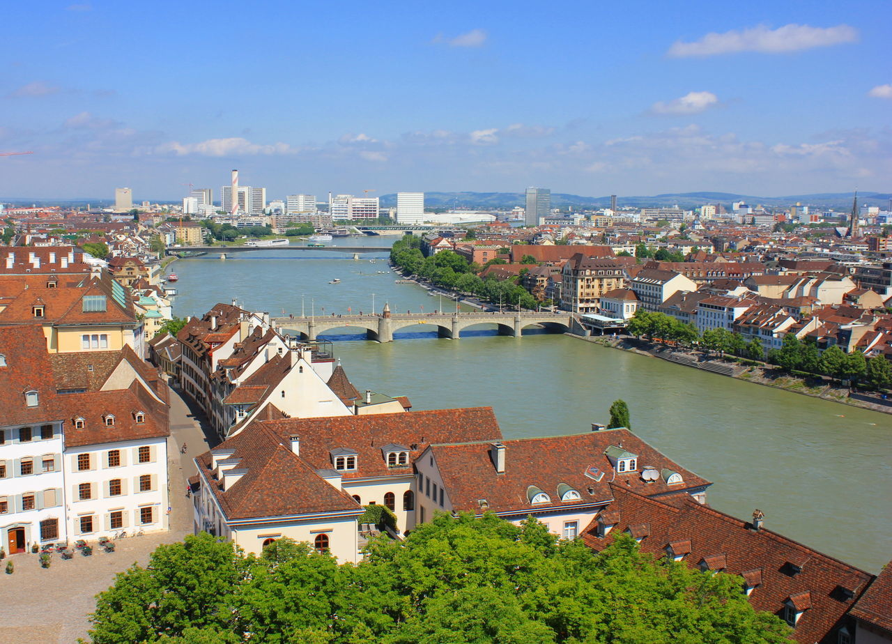 Aerial View Architecture Bale  Basel Basel Switzerland Basel, Switzerland Bridge - Man Made Structure Building Exterior Built Structure Business City Cityscape Cloud - Sky High Angle View Outdoors Rhein Rhein River Roof Sea Sky Travel Destinations Базель река мост крыши