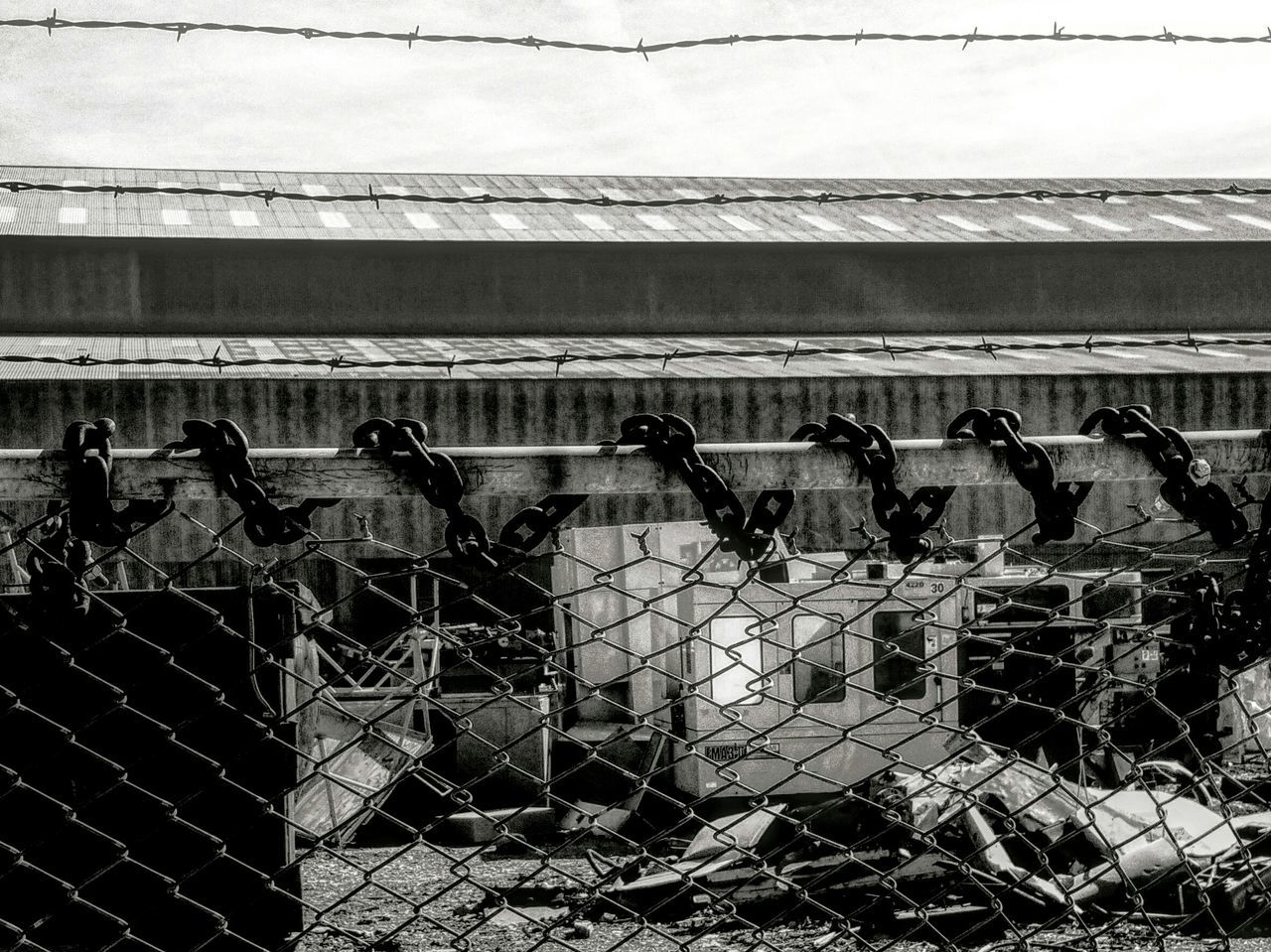 Chained Link Fence Black And White Industrial Industrial Landscapes Salvage Monochrome Broken Sunlight Composition In Gray Heavy Laden Metal Steel Iron