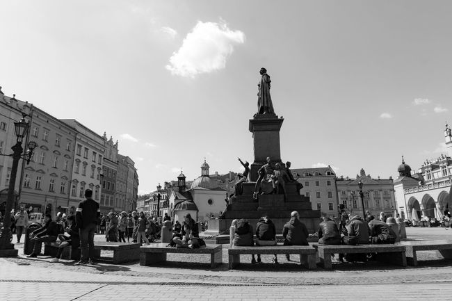 It was a lovely day in Krakow Architecture Blackandwhite Krakow Krakow,Poland Local Main Market Sky Sunny Monochrome Photography
