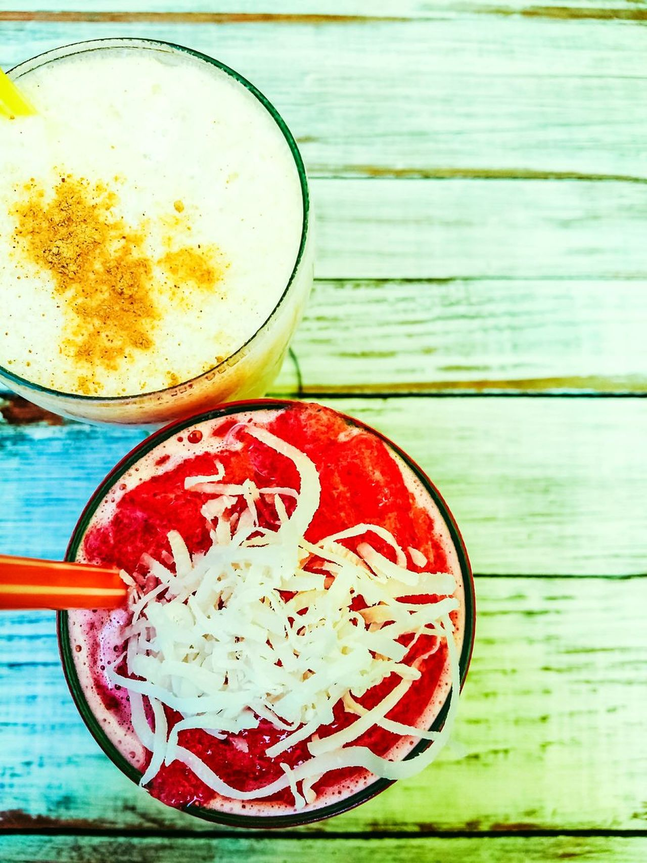 Table Freshness Wood - Material Indoors  Drinking Glass Drink Close-up Coconut Milk Strawberry Fresh Drinks