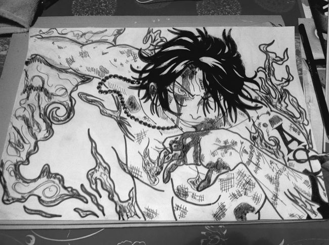 Blackandwhite Drawing Draw Passion OnePiece Onepiecefan Ace ❤️🎨✏️