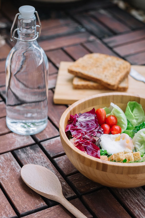 Salad Bowl Close-up Cutting Board Day Focus On Foreground Food Food And Drink Freshness Healthy Eating Indoors  No People Ready-to-eat Salad Bowl Table Vegetable Wood - Material
