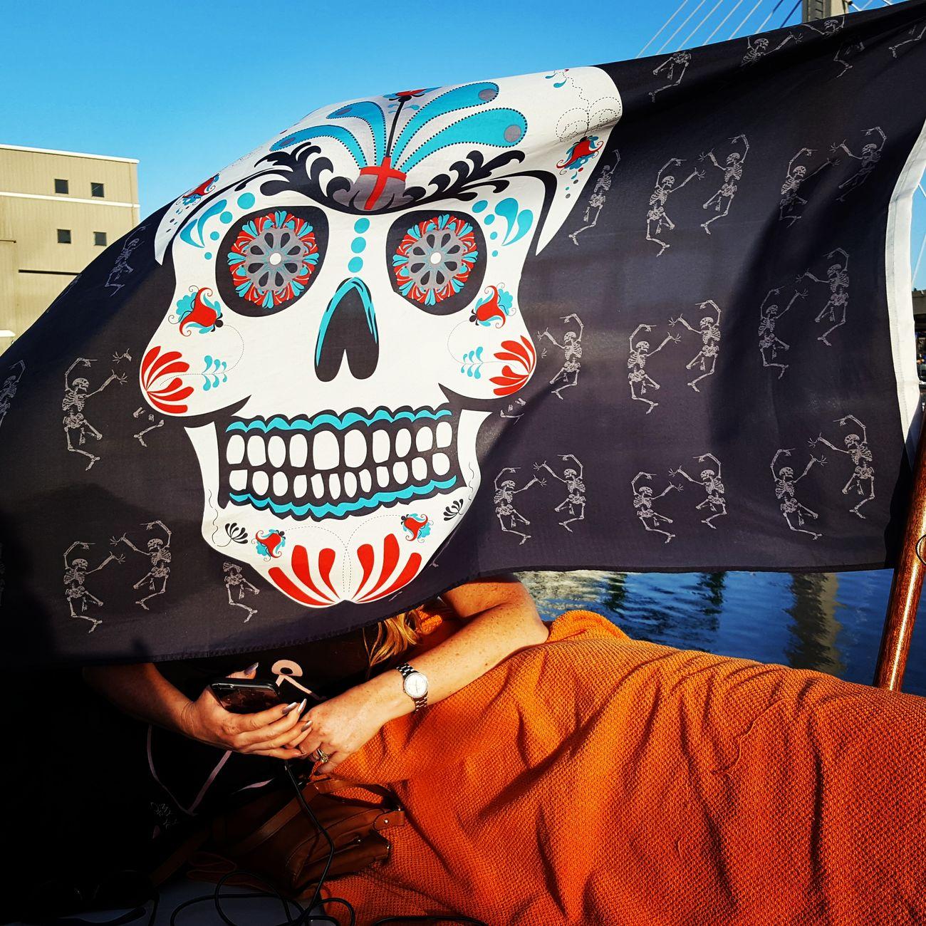 Boat fun. Onaboat Boatlife Boat Ride Flag Skulls Lifeonthewater Commencementbay Ttown Tacoma_WA Skullporn